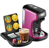 HiBREW 4-in-1 Mini Multi-Function Espresso Coffee Maker Dolce Gusto Machine Compatible with Nespresso Capsule, Dolce Gusto Capsule, Ground Coffee and KCup, Italian 19 Bar High Pressure Pump, Buttons for Espresso and Lungo, 1450W (Purple with Tray)