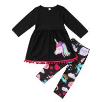 2Pcs Kids Toddler Baby Girl Long Sleeve T-Shirt Tops+Floral Pants Outfit Set Summer Spring Clothes