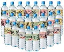 Alice In Wonderland Bottle Wraps - 24 Alice Water Bottle Labels - 8 different amazing layouts