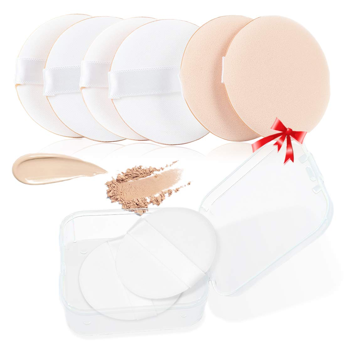 Kalevel 8pcs Air Cushion Puff Round Makeup Powder Sponge Small Cosmetic Puff Foundation Sponge Applicators BB Scream Face Powder Puff Baby Powder Sponge with Box for Dry & Wet Use (Skin Color)