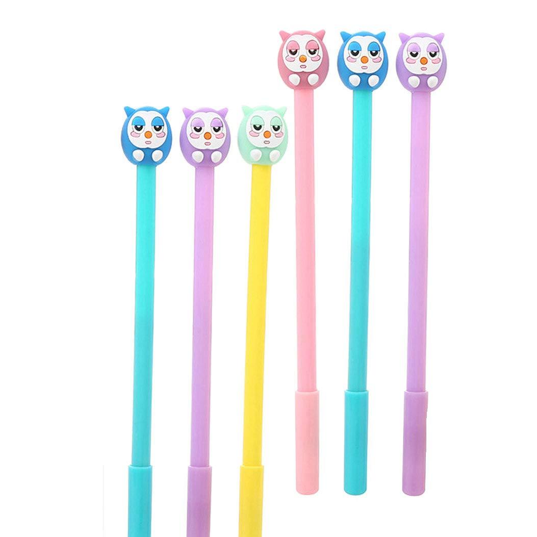 WIN-MARKET Animals Bird Owl Gel Pens Set Fashion Cute Colorful Kawaii Lovely Cartoon Gel Pens Set Funny Gel Ink Rollerball Pens Office School Pen Student Stationery (6PCS)