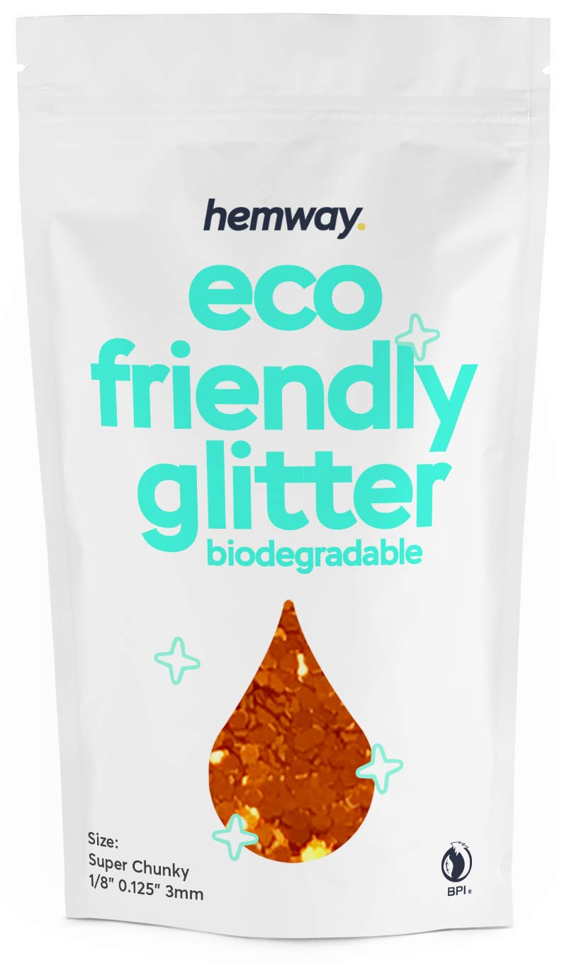 """Hemway Eco Friendly Biodegradable Glitter 100g / 3.5oz Bio Cosmetic Safe Sparkle Vegan For Face, Eyeshadow, Body, Hair, Nail And Festival Makeup, Craft - 1/8"""" 0.125"""" 3mm - Copper"""