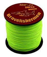Bravefishermen Super Strong Pe Braided Fishing Line 6LB to 100LB Fluorescent Green