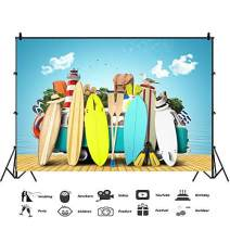Baocicco 9x6ft Summer Party Backdrop Surfboard Sunhat Travelling Bag Lighthouse Motor Homes Diving Equipment Photography Background Summer Holiday Party Theme Birthday Party Leisure Kids Adults