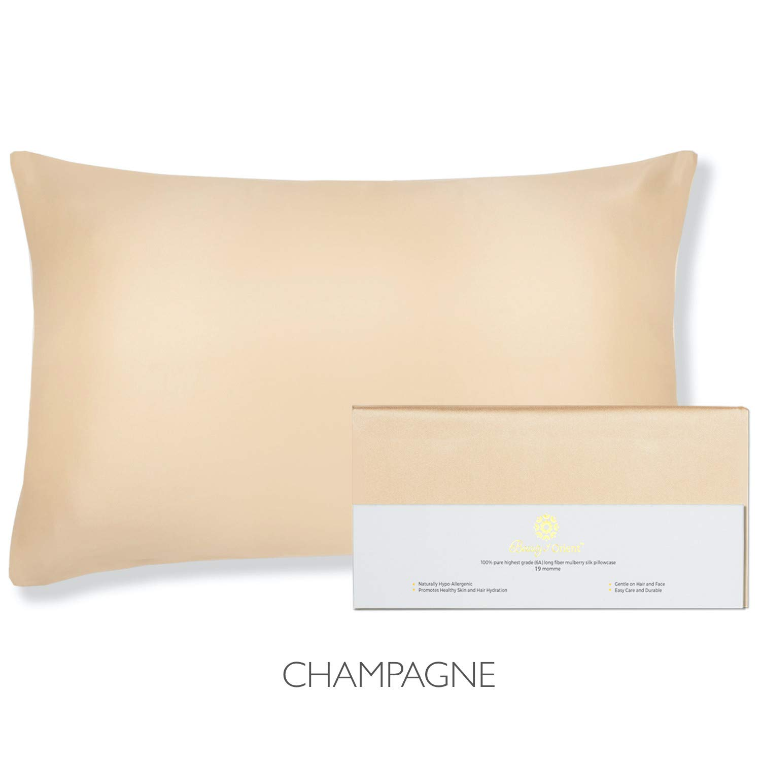 """Beauty of Orient - 100% Pure Mulberry Silk Pillowcase for Hair and Skin, 19 Momme Both Sides, Hidden Zipper, Natural Hypoallergenic Silk Pillow Case (1pc Queen - 20"""" x 30"""", Champagne)"""