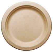 """[500 COUNT] 7"""" in Round Disposable Plates - Made From Natural Plant Fibers Contemporary Eco Friendly Paper Plastic Alternative 100% by-product"""