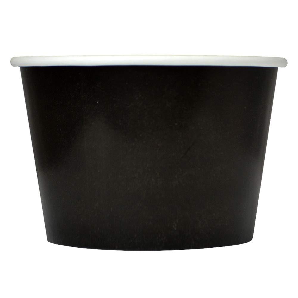 [50 Count] Black Paper Ice Cream Cups - 8 oz Dessert Bowls Perfect For Frozen Treats And Yummy Desserts - Frozen Dessert Supplies
