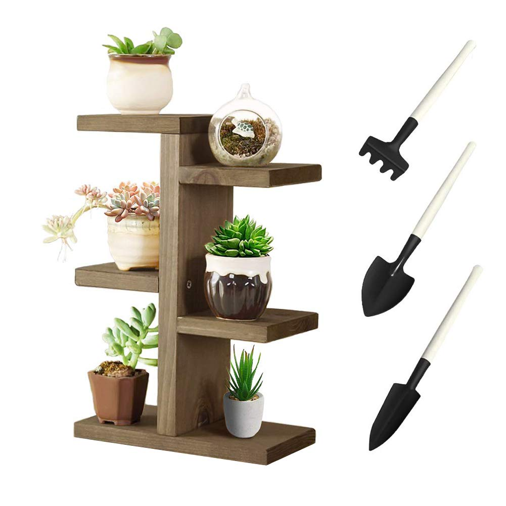 Jeerbly Plant Stand, Small Wood Plant Shelf for Succulent Tabletop Window Flower Garden Rack 6 Tiers for Indoor/Outdoor Decor&Plant Display