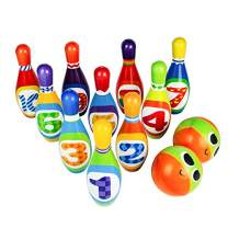 Bowling Set Toy 10 Colorful Soft Foam Bowling Pins 2 Balls Indoor Toys Toss Sports Developmental Game for Active Party Family Games Children Boys Girls Easter Gifts Preschooler 3 4 5 6 Years Old