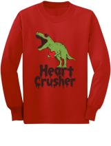 Heart Crusher T-Rex Love Valentine's Day Outfit Youth Kids Long Sleeve T-Shirt