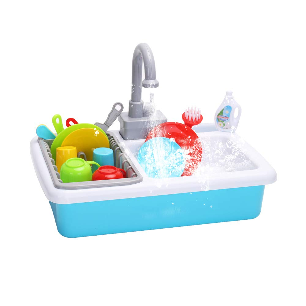 Wishtime Kitchen Sink Toys Pretend Play Dishwasher Playing Toy With Running Water Wash Up Kitchen Toys Pretend Role Play Toys For Boys Girls Toddlers