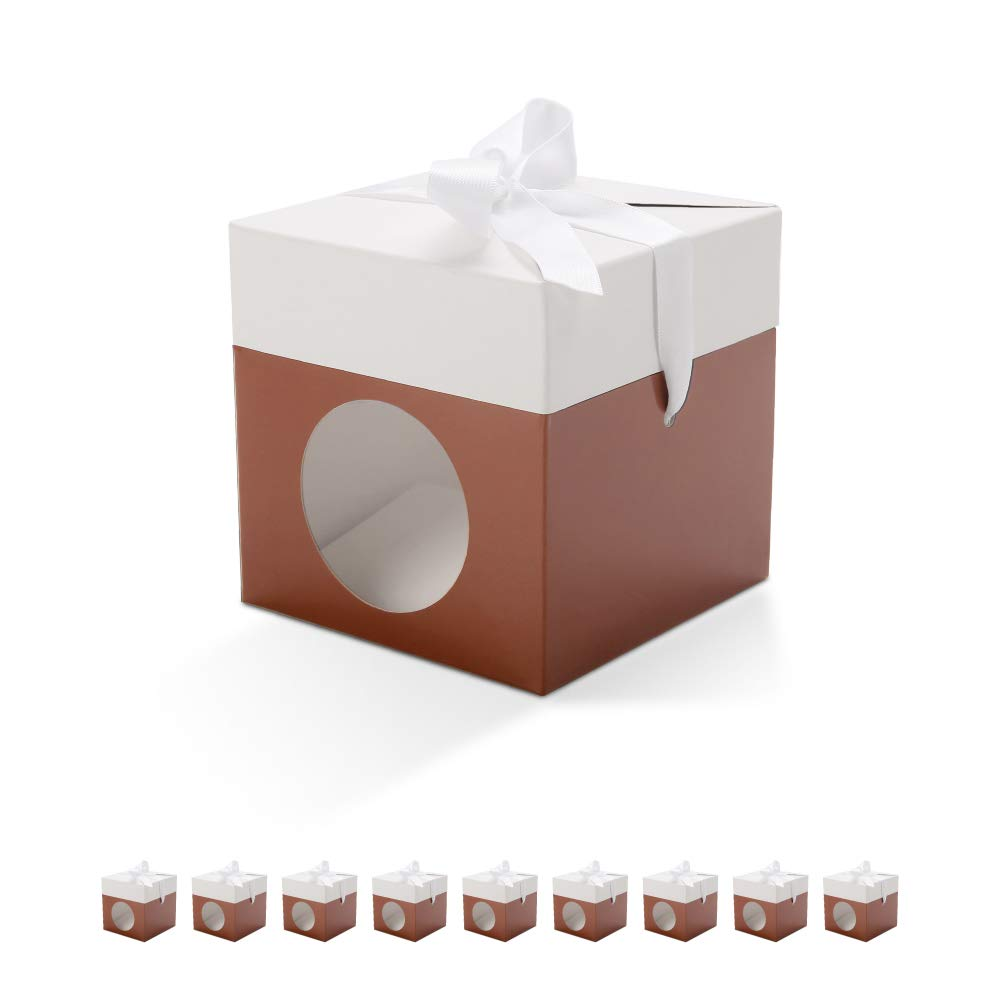 BAKIPACK Brown Gift Boxes 4x4x4 Inches with Window and Ribbons,Chocolate Boxes,Truffle Boxes Packaging,Candy Boxes,Wedding Favors Boxes for Wedding,Baby Shower,Brithday,Party Homemade Favor 10 Pack