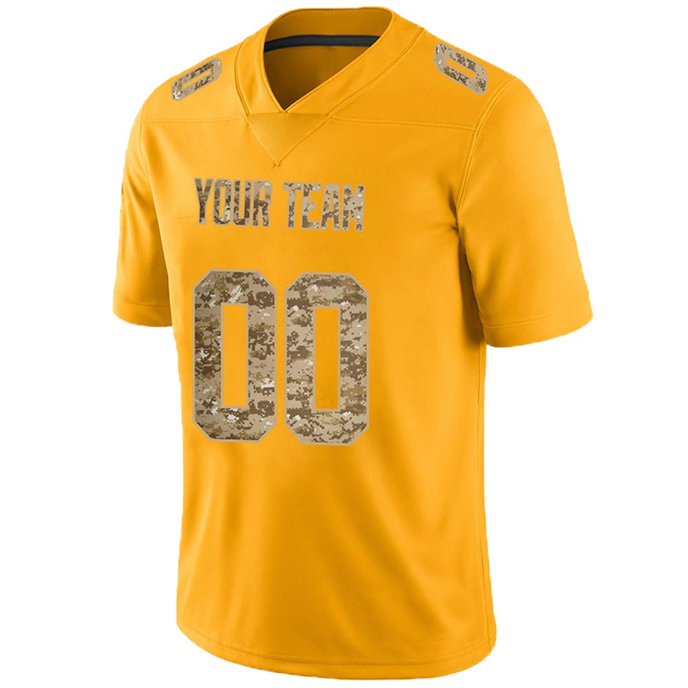 Pullonsy Gold Custom Football Jerseys for Men Women Youth Embroidered Names and Numbers S-8XL Design Your Own