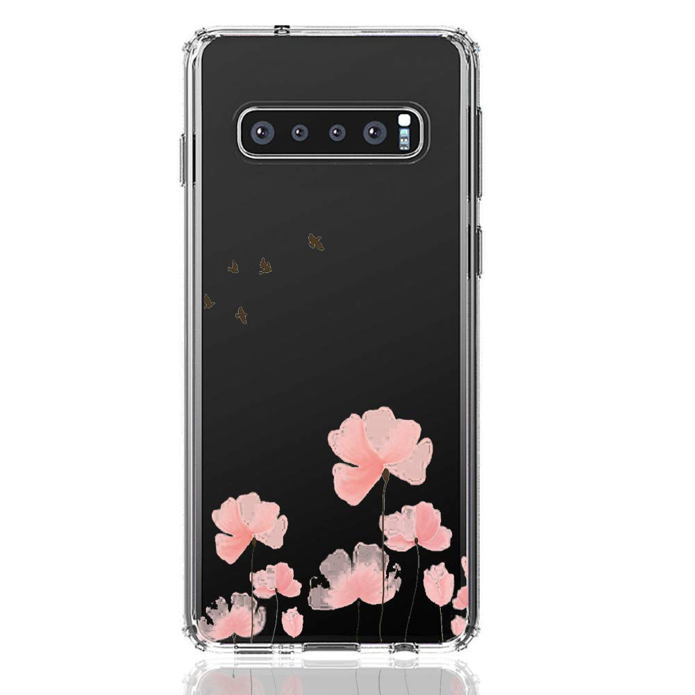 HUIYCUU Case Compatible with Galaxy S10E Case, Shockproof Cute Clear Design Slim Fit Soft TPU Bumper Funny Pattern Back Cover Shell for Galaxy S10E, Rose Flower