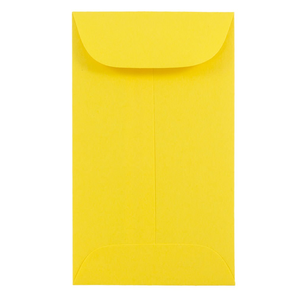JAM PAPER #6 Coin Business Colored Envelopes - 3 3/8 x 6 - Yellow Recycled - 50/Pack