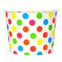 Rainbow Paper Ice Cream Cups - 12 oz Polka Dotty Dessert Bowls -Perfect For Your Yummy Foods! Many Colors & Sizes - Frozen Dessert Supplies - 50 Count