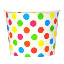 Rainbow Paper Ice Cream Cups - 12 oz Polka Dotty Dessert Bowls -Perfect For Your Yummy Foods! Many Colors & Sizes - Frozen Dessert Supplies - 100 Count