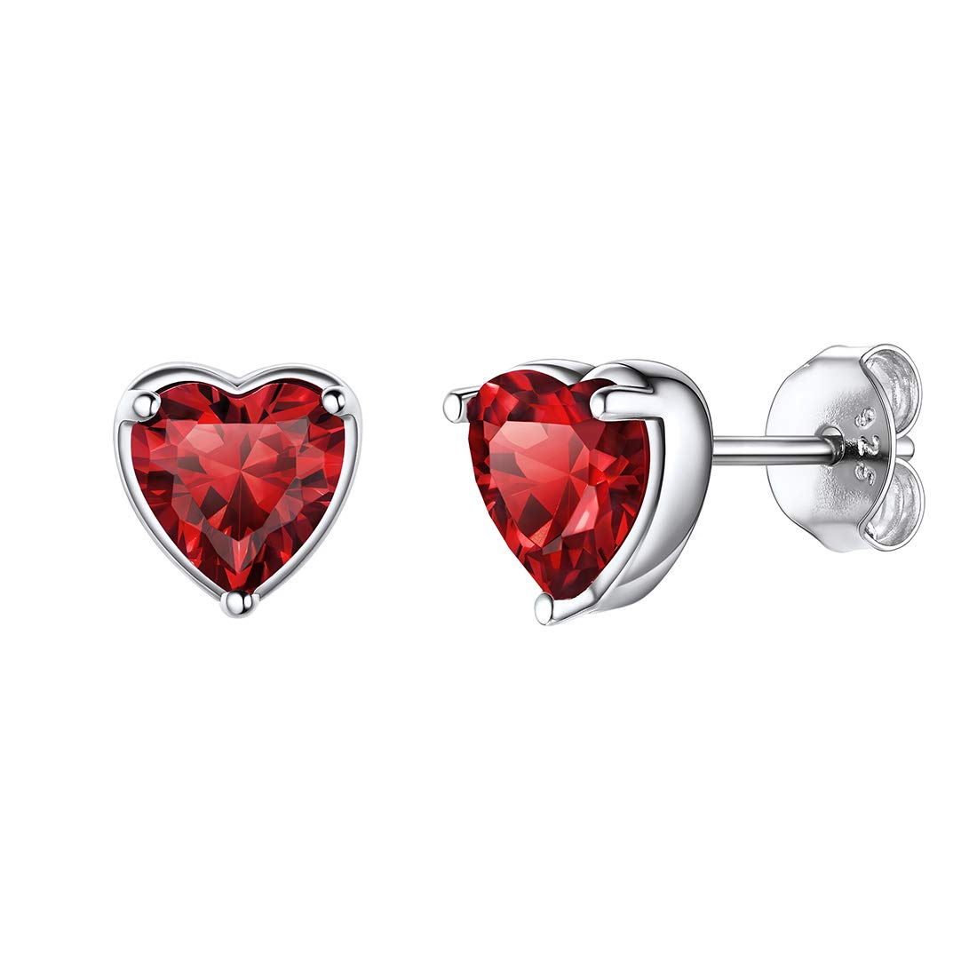 Ruby Earrings Heart Charm Girlfriend Gift Gift for Wife July Birthstoner Valentines Day Wear Valentine Jewelry July Birthday Gift