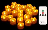 Topstone Remote Control Tealights with Timer,Battery Operated Flameless Candle with Flickering Amber Bulb,Electric Tea Light in Wave Open, Best for Holiday Decoration,Wedding,Pack of 12
