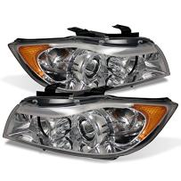 For BMW E90 3-Series 4 Doors Sedan Chrome Clear Halogen Type Halo Ring LED Eye Lid Projector Headlights