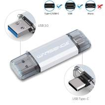 OTG USB Flash Drive Type-C Pen Drive for Android Devices/PC/Mac (128GB, Silver)