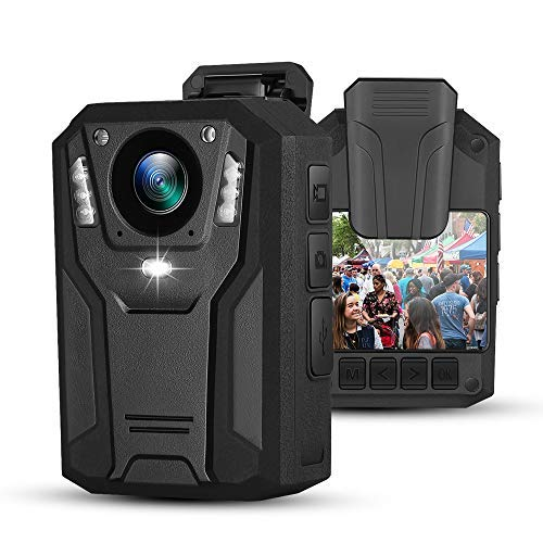 BOBLOV P100 1296P Body Mounted Camera 8-9hrs Recording Wearable Video Recorder Manually Night Vision for Law Enforcement (64G)