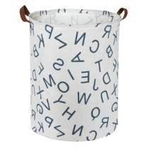 "ESSME Large Laundry Hamper Waterproof Coating Canvas Fabric Storage Basket-Toy Organizer, Baby Nursery Hamper19.7×15.7"" (Blue Alphabet)"