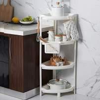 PENGKE Bathroom Plastic Shower Caddy Corner,4-Tier Bath Shelf Organizer, Kitchen Storage Shelf Rack with a Hanging Basket