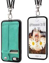 TOOVREN iPhone SE2 Case iPhone 7/8 Wallet Case Lanyard Neck Strap iPhone 7/8/SE Protective Case with Kickstand Leather PU Card Holder Adjustable Detachable Necklace for Anti-Lost and Outdoors Aqua