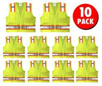 Safety Main Premium High Visibility Surveyor Vest Solid Front Mesh Back, 10 Pack, 3X-Large