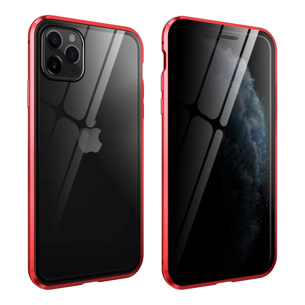 HYAIZLZ iPhone 11 Pro Max Privacy Case Double Sided 9H Glass Slim Mirror Metal Edge Magnetic Protective Case for iPhone Xi Max/iPhone 11 Pro Max 6.5inch,Red