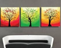"""MADE4U [ 3 Pieces Split Series Flower 3 ] [ 16"""" x 3 ] [ Wood Framed ] Paint by Numbers Kit with Brushes and Paints (Mysterious Tree) DLFP7141"""
