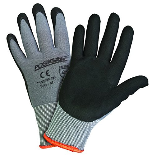 West Chester PosiGrip 715SNFTP Palm Dip Gloves - [Pack of 12] Small Industrial Gloves, Black Foam Nitrile Coating on nylon Shell, Knit Wrist
