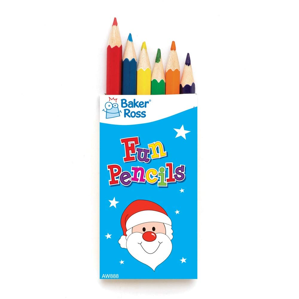 Baker Ross Christmas Mini Colouring Pencils, Festive Arts and Crafts Per 6 (Packs)