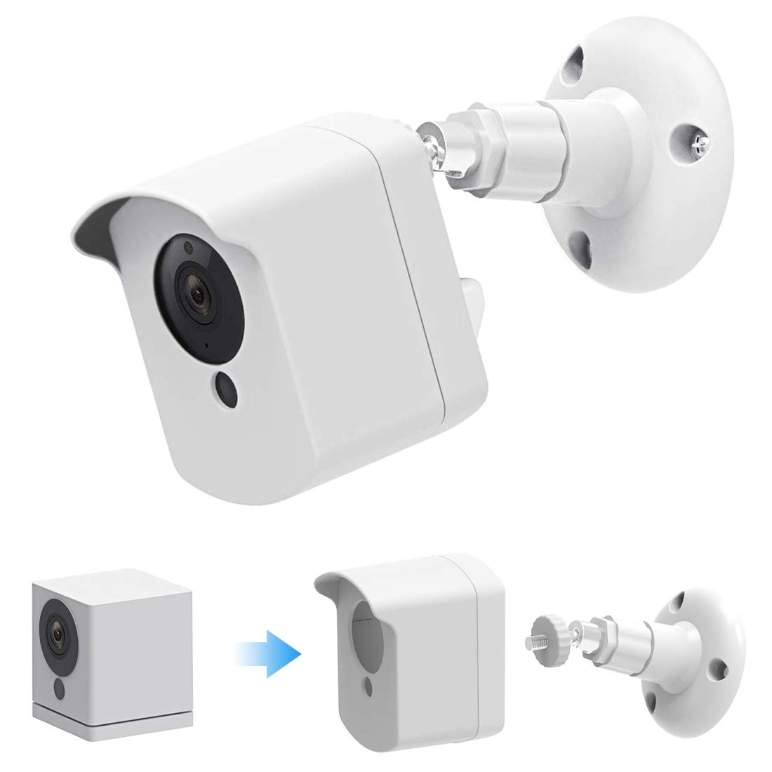 Wyze Cam Wall Mount Bracket. Caremoo Upgraded Weather Proof Case with Adjustable Security Mount for Wyze Cam V2 V1 and Ismart Spot Camera Indoor Outdoor Use (White)