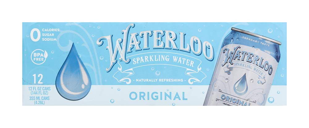 Waterloo Sparkling Water Original Flavor Zero Calorie No Sugar 12oz Cans (Pack of 12), Fruit Flavored Sparkling Water, Naturally Flavored, Zero Calories, Zero Sugar, Zero Sodium