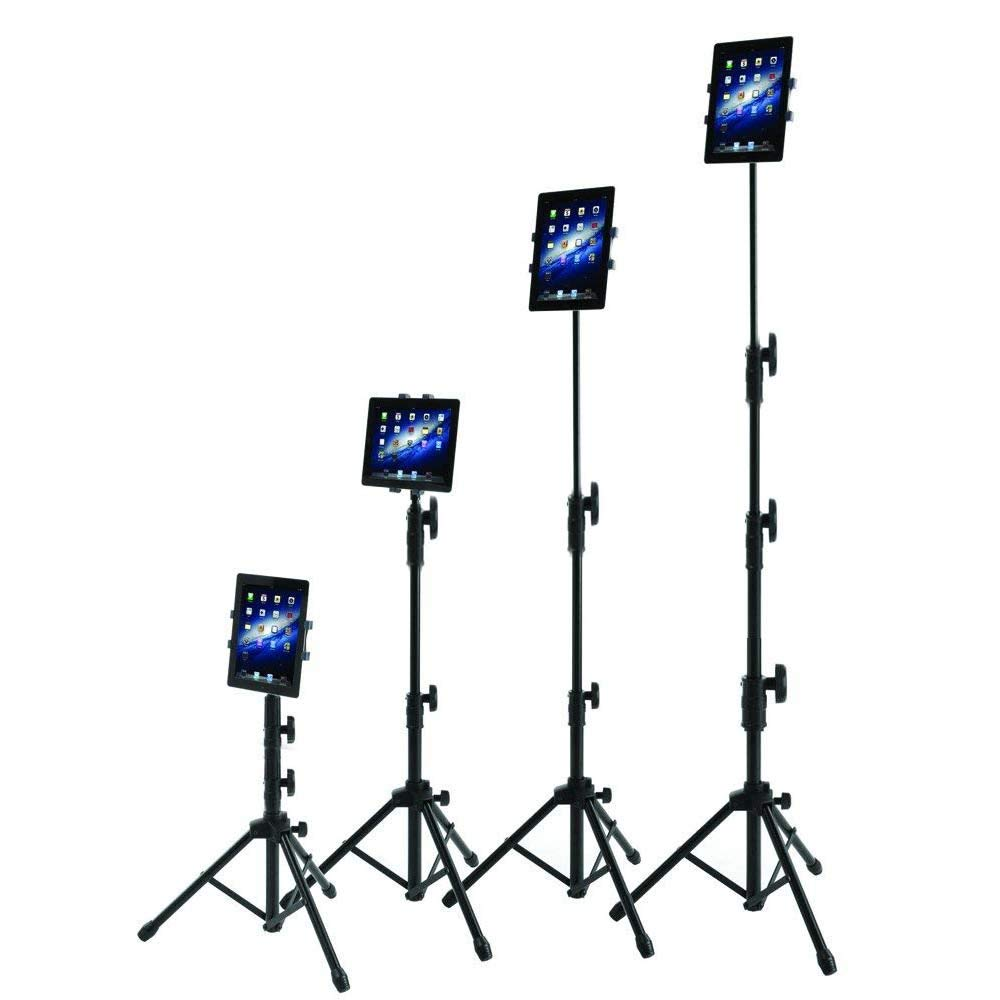 IPad Tripod Stand, Raking Foldable Floor Height Adjustable Tablet Tripod Stand for iPad Mini, iPad Air, iPad 1,2,3,4 and Most 7-10 Inch Tablets, Carrying Case and Flashlight as Gifts