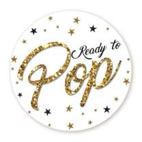 """Ready to Pop Stickers   Faux Glitter   Ready To Pop Baby Shower Stickers for Popcorn   Ready to Pop Stickers for Boy and Girl (White, 1.67"""")"""