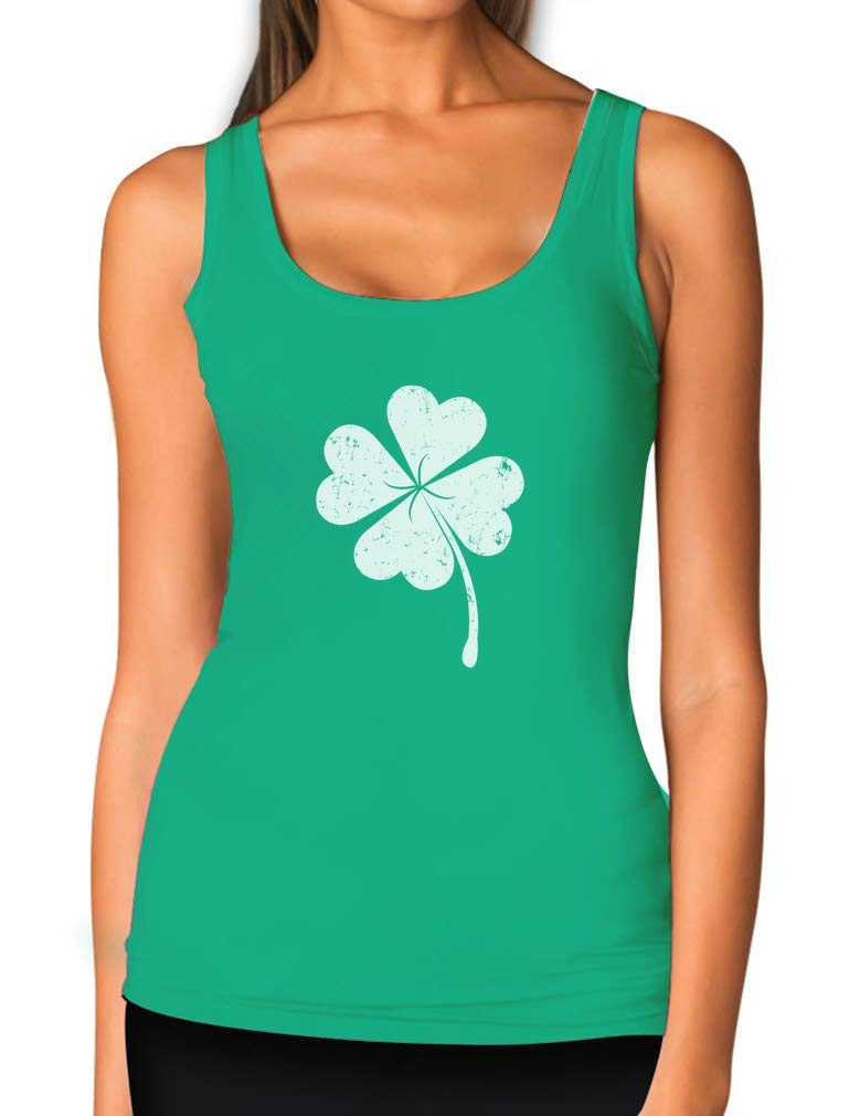 St. Patricks Day Lucky Charm Clover Women Tank Top