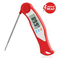 GuanTek Instant Read Meat Thermometer, Digital Food Thermometer Candy Thermometer with Folding Probe and Calibration for Cooking Oil Deep Fry BBQ Grill Smoker Oven, Red