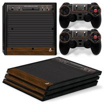 ZOOMHITSKINS PS4 Pro Console and Controller Skins, Old Vintage Brown Wood Game Ancient Retro Classic Radio Antique, High Quality, Durable, Bubble-free, 1 Console Skin 2 Controller Skins, Made in USA