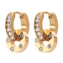 KLKE Crystal Hoop Earrings for Women, Brilliant Huggie Earrings for Girls Sensitive Ears Sleeper Earrings 14K Gold Plated Stainless Steel