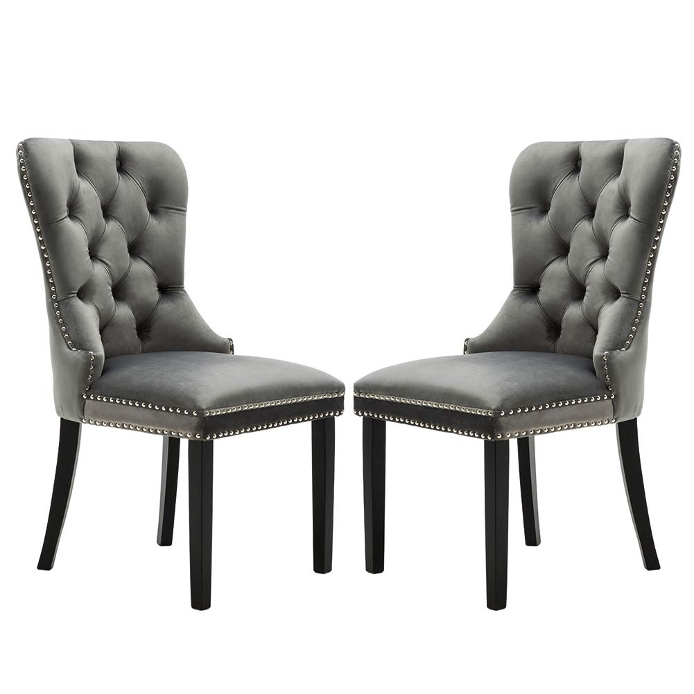 Chairus Velvet Dining Chairs Upholstered, Elegant Tufted Chair with Nailed Trim, Velvet Accent Chair Set of 2 - Light Gray