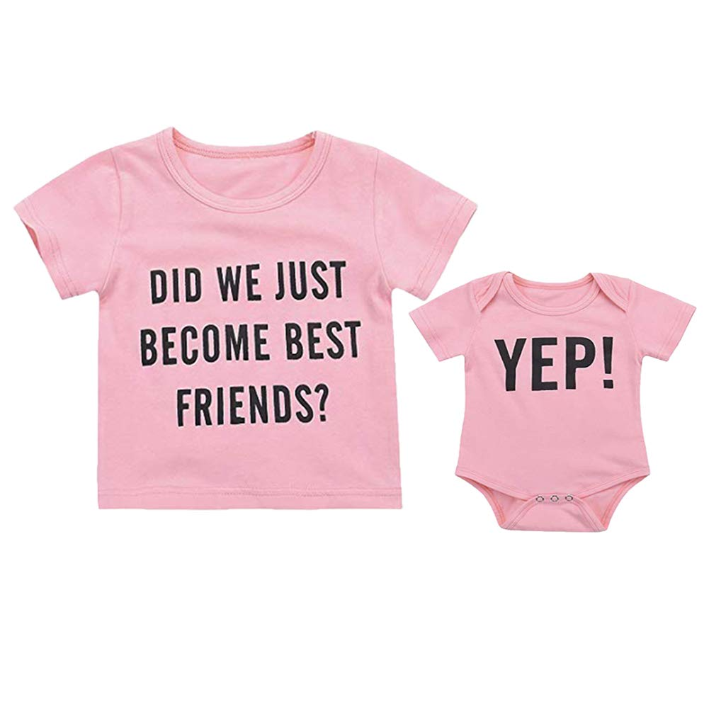 Infant Baby Brothers/Sisters Matching Letter Print Romper Short Sleeve Jumpsuit Summer Clothes Outfits