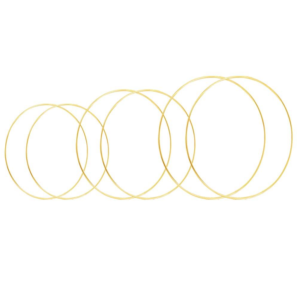HOHIYA 8 10 12 inch Metal Hoop Craft Floral Gold Dream Catcher Macrame Ring Christmas 4mm Wire 6pcs
