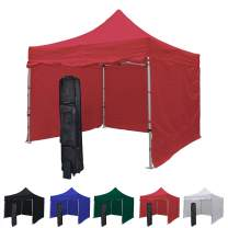 Vispronet 10x10 Instant Canopy Tent and 4 Side Walls – Commercial-Grade Aluminum Frame – Water Resistant Sidewalls – Includes Canopy Bag and Stake Kit (Red)