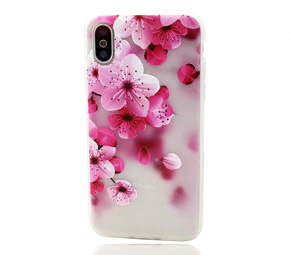 HUIYCUU Case Compatible with iPhone Xs Max Case, Pink Flower Design Print Floral Matte Shockproof TPU Soft Cover for Girls Rose Blossoms Pattern Clear Bumper Shell Back Case for iPhone Xs Max,Petals