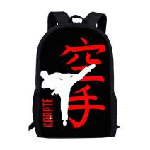 FUIBENG Cool Karate Print Stylish Backpack for College Teens Girls Boys Anti-theft School Shoulders Bag Travel Daypack