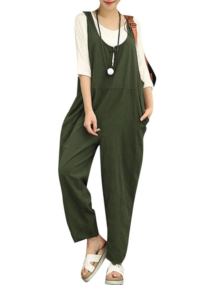Romacci Women Cotton Linen Baggy Overalls Jumpsuits Vintage Sleeveless Wide Leg Pants Rompers