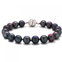 Bling Jewelry Rainbow Black Simulated Pearl Strand Bracelet for Women Rhodium Plated Crystal Clasp 10MM 7.5 Inch